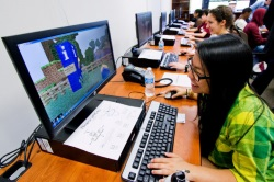 children using Minecraft in school